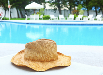 Hat sitting by the pool after a nice deep cleaning
